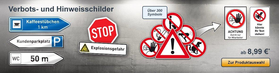 Verbotsschilder, Hinweis- und Warnschilder selbst gestalten